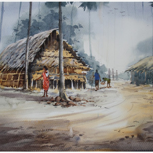 Alibaug by Sameer Mahadev Bhise, Impressionism Painting, Watercolor on Paper, Brown color
