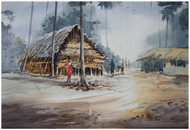 Alibaug by Sameer Mahadev Bhise, Impressionism Painting, Watercolor on Paper, Brown color