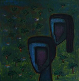 Nature by Abhijit Das, Expressionism Painting, Tempera on Board, Blue color