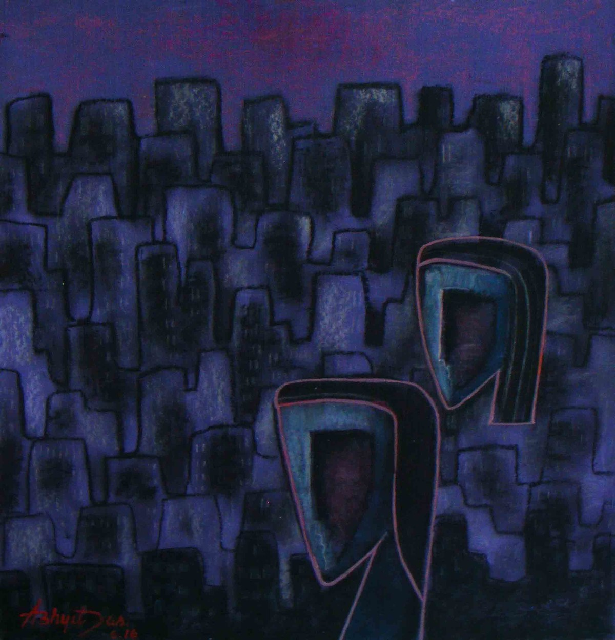 Nature's Destruction by Abhijit Das, Expressionism Painting, Tempera on Board, Blue color