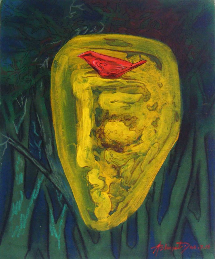 The Dream by Abhijit Das, Expressionism Painting, Tempera on Board, Green color