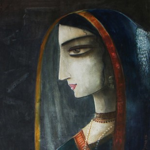 Rag Tori by Abhijit Das, Expressionism Painting, Watercolor on Board, Gray color