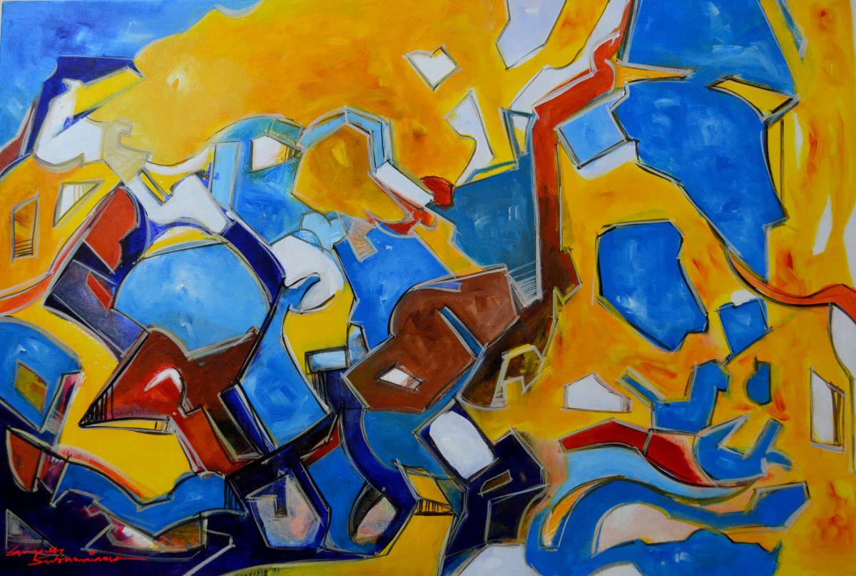 Composition 41 by Ganapathy Subramaniam, Abstract Painting, Acrylic on Canvas, Blue color