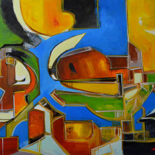 Composition 42 by Ganapathy Subramaniam, Abstract Painting, Acrylic on Canvas, Green color