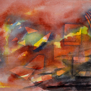 Composition 36 by Ganapathy Subramaniam, Abstract Painting, Watercolor on Paper, Brown color