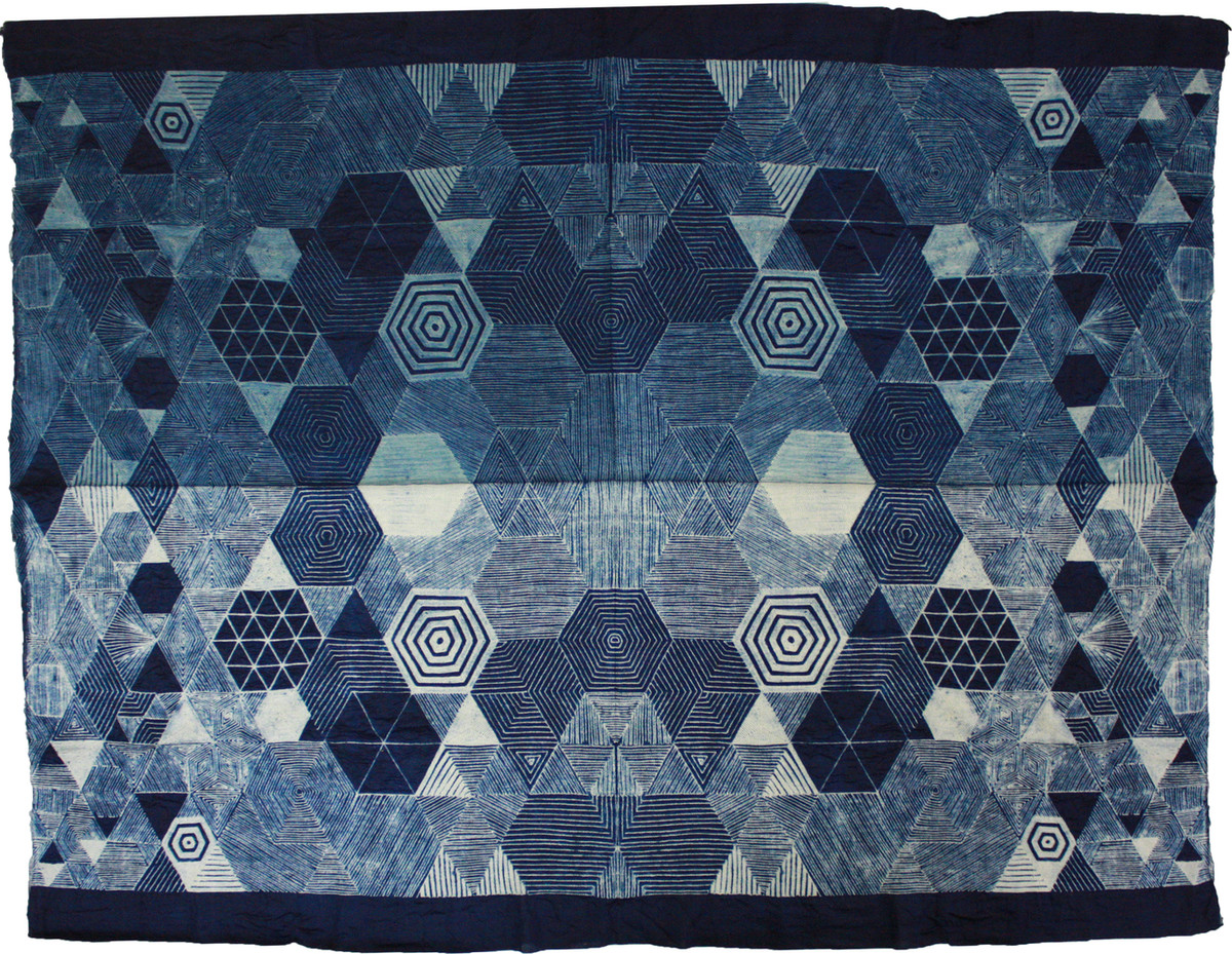 Untitled II by Neha Puri Dhir, Geometrical Textile, Resist Dyeing on Silk, Blue color