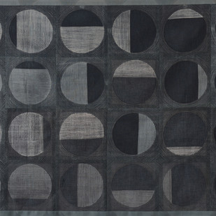 Transition by Neha Puri Dhir, Geometrical Textile, Resist Dyeing on Silk, Gray color