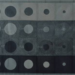 Diminish by Neha Puri Dhir, Conceptual, Geometrical Textile, Resist Dyeing on Silk, Gray color