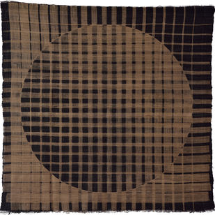 Mutation by Neha Puri Dhir, Conceptual, Geometrical Textile, Resist Dyeing on Silk, Brown color
