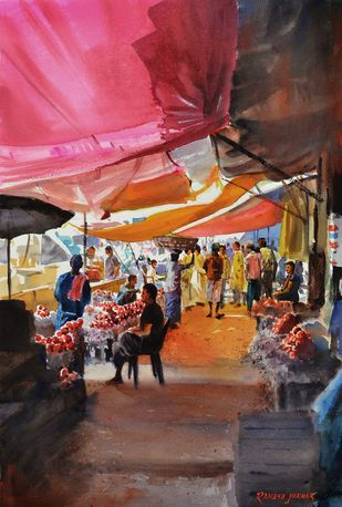 Glowing Awnings by Ramesh Jhawar, Impressionism Painting, Watercolor on Paper, Brown color