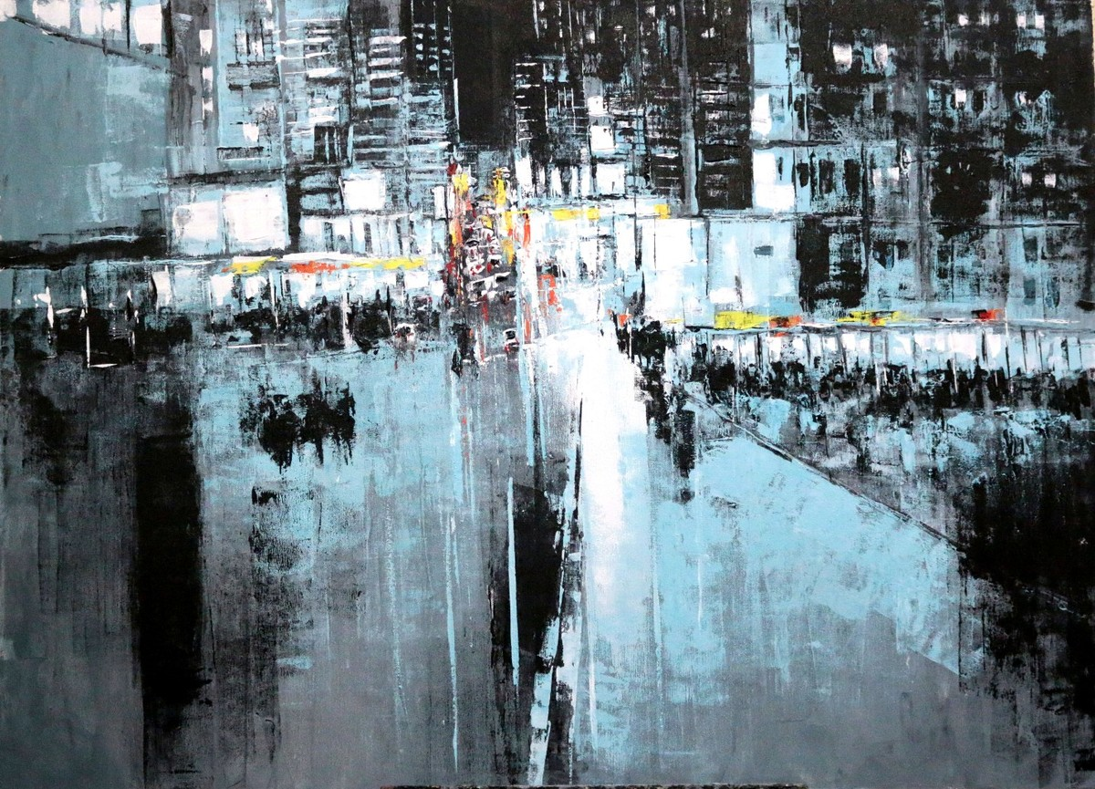 Untitiled by Srinibas Lenka, Impressionism Painting, Acrylic on Canvas, Blue color