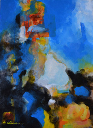 Composition 5 by Ganapathy Subramaniam, Abstract Painting, Acrylic on Paper, Blue color