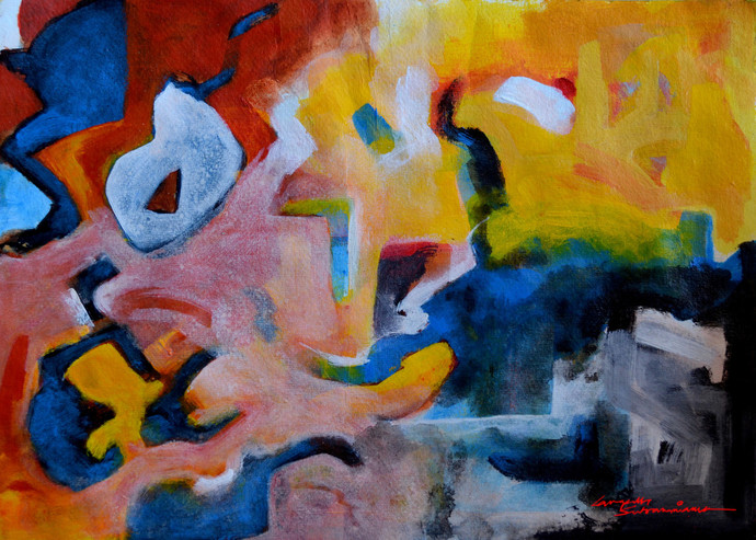 Composition 8 by Ganapathy Subramaniam, Abstract Painting, Acrylic on Paper, Brown color