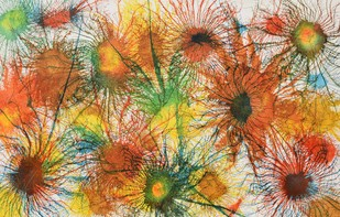 Exploflora Series No. 5 by Sumit Mehndiratta, Impressionism Painting, Acrylic on Canvas, Brown color