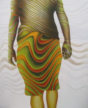 digambra by anju kaushik, Op Art Painting, Oil on Canvas, Gray color