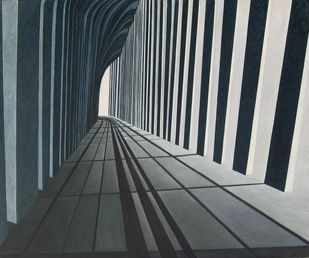 perspective 2 by anju kaushik, Geometrical, Op Art Painting, Oil on Canvas, Gray color