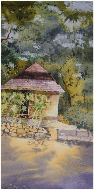 Konkan Home by Sameer Mahadev Bhise, Impressionism Painting, Watercolor on Paper, Brown color