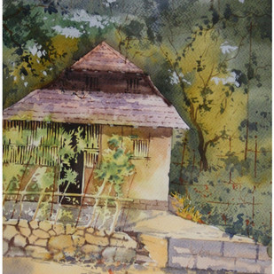 Konkan Home by Sameer Mahadev Bhise, Impressionism Painting, Watercolor on Paper, Brown color