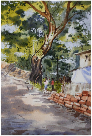 Nature Light by Sameer Mahadev Bhise, Impressionism Painting, Watercolor on Paper, Brown color