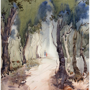 Way Of Nature by Sameer Mahadev Bhise, Impressionism Painting, Watercolor on Paper, Brown color