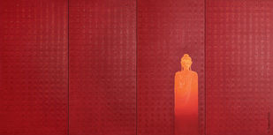 Ominipresence by Sangeeta Abhay, Expressionism Painting, Oil on Canvas, Red color