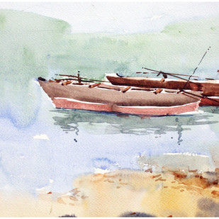 Konkan Beach by Sameer Mahadev Bhise, Impressionism Painting, Watercolor on Paper, Gray color