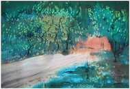 Green Hill by Sameer Mahadev Bhise, Impressionism Painting, Ink on Paper, Green color