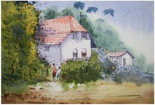 White House by Sameer Mahadev Bhise, Impressionism Painting, Watercolor on Paper, Green color