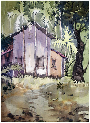 Konkan by Sameer Mahadev Bhise, Impressionism Painting, Watercolor on Paper, Brown color