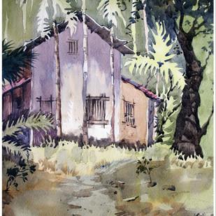 Konkan by Sameer Mahadev Bhise, Impressionism Painting, Watercolor on Paper, Brown color