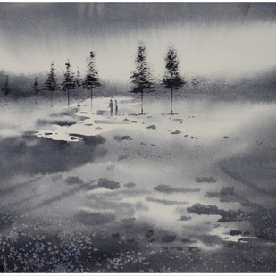Rain by Sameer Mahadev Bhise, Impressionism Painting, Watercolor on Paper, Gray color