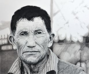 Lines by Sripriya Mozumdar, Realism Drawing, Mixed Media on Paper, Gray color