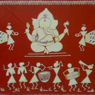 GANESH UTSAV by MUKTA GUPTA, Traditional Painting, Acrylic & Graphite on Canvas, Brown color