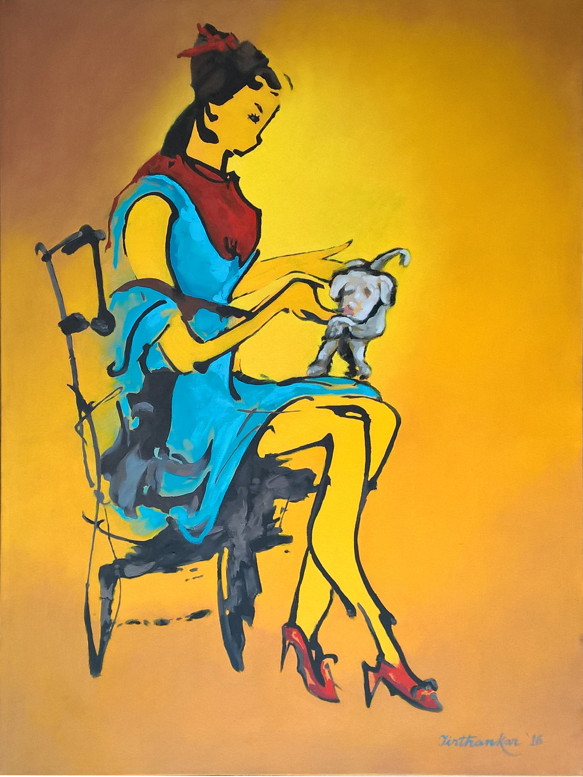 SO CUTE by Tirthankar Biswas, Expressionism Painting, Oil on Canvas, Orange color