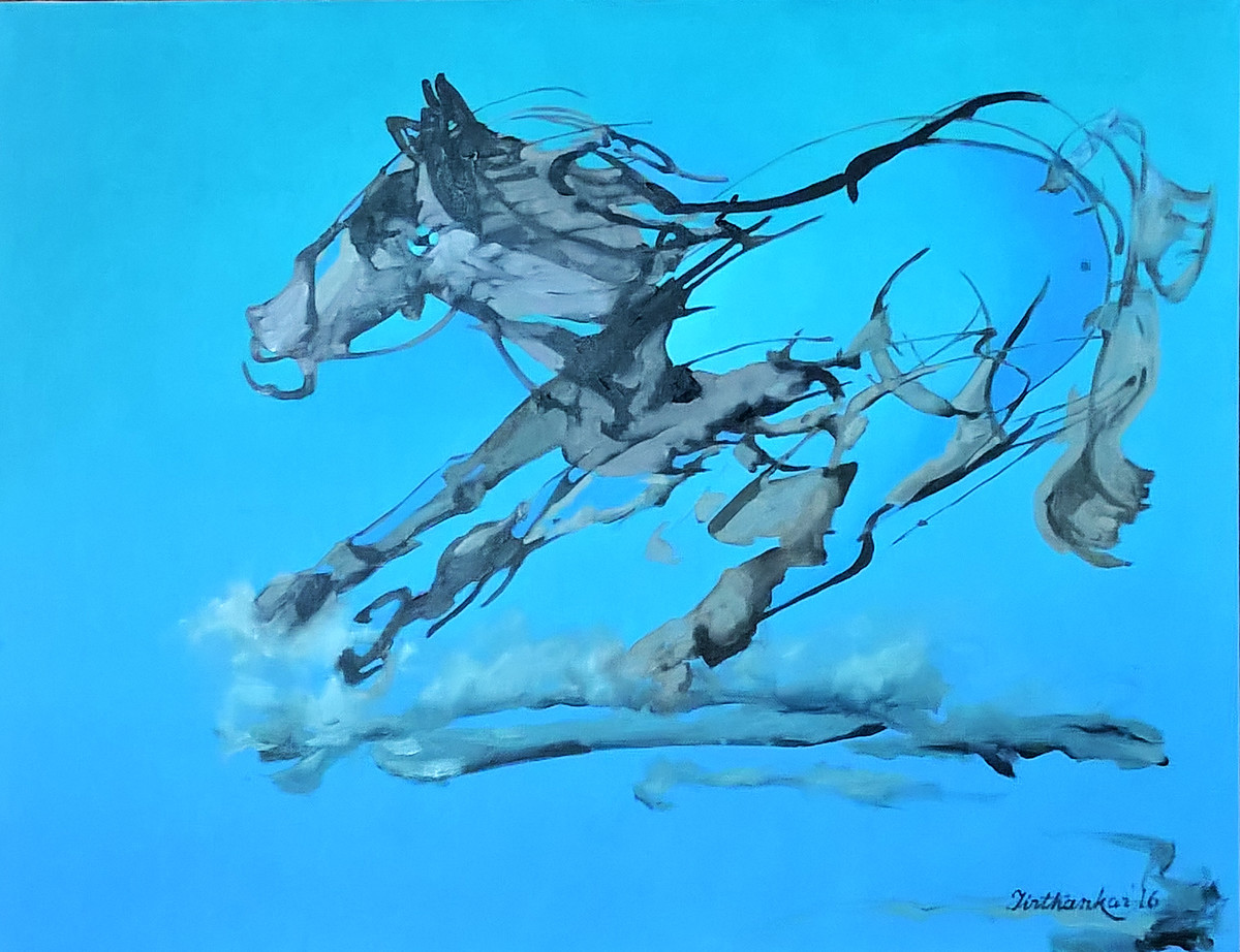 RUNNING HORSE by Tirthankar Biswas, Impressionism Painting, Oil Pastel on Canvas, Cyan color