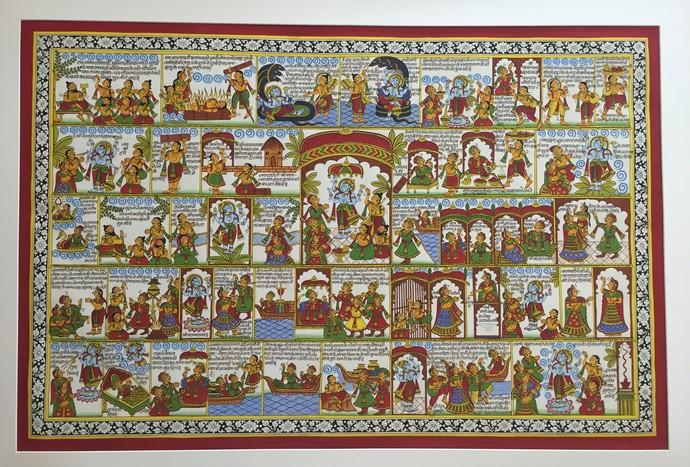 satyanarayan vrat katha by kalyan joshi, Illustration Painting, Acrylic on Canvas, Brown color