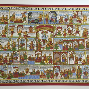 satyanarayan vrat katha by kalyan joshi, Illustration Painting, Acrylic on Canvas, Brown color