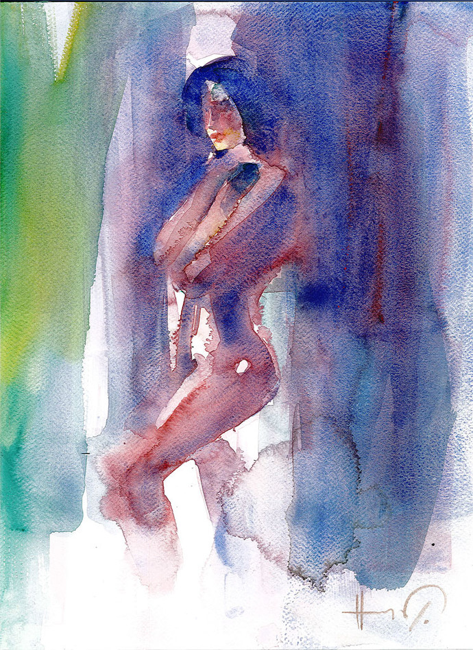 woman by harshad Badbe, Impressionism Painting, Watercolor on Paper, Blue color