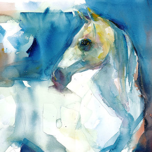 Horse by harshad Badbe, Impressionism Painting, Watercolor on Paper, Cyan color