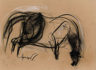 horse by harshad Badbe, Impressionism Drawing, Charcoal on Paper, Brown color
