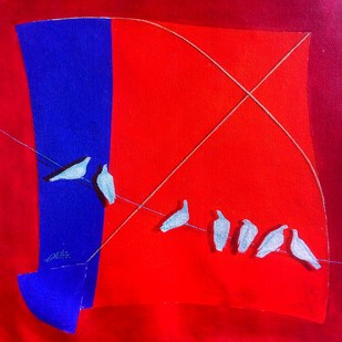 kite and birds joy ii by shiv kumar soni, Expressionism Painting, Acrylic on Canvas, Red color