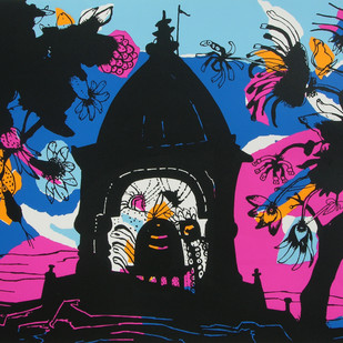 Banaras in Pink by Manu Parekh, Impressionism Printmaking, Serigraph on Paper, Blue color