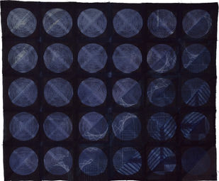 Celestial by Neha Puri Dhir, Geometrical Textile, Resist Dyeing on Silk, Blue color