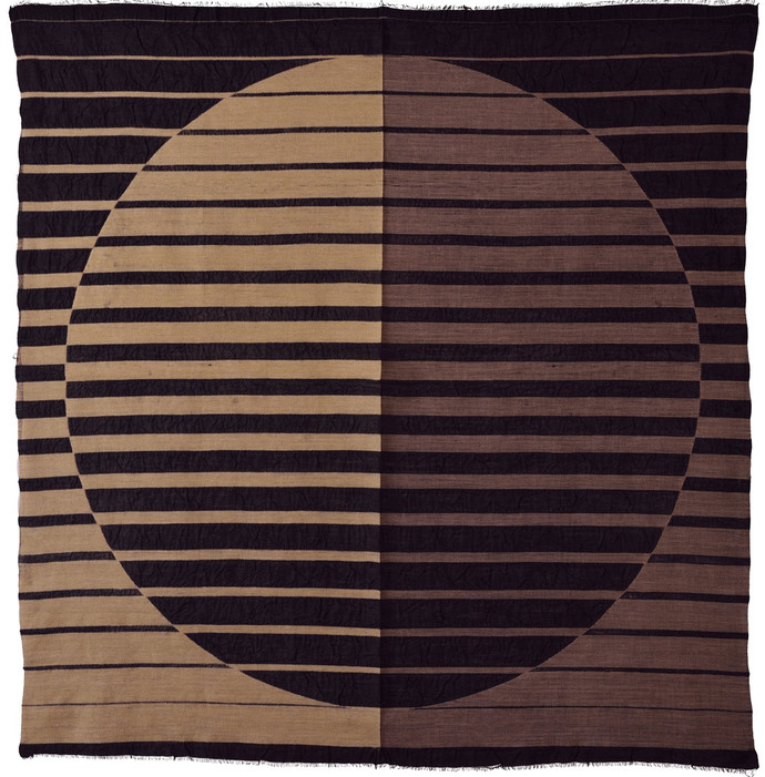Dream by Neha Puri Dhir, Geometrical Textile, Resist Dyeing on Silk, Brown color
