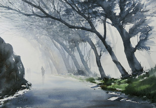 Misty Day by Sunil Linus De, Impressionism Painting, Watercolor on Board, Gray color