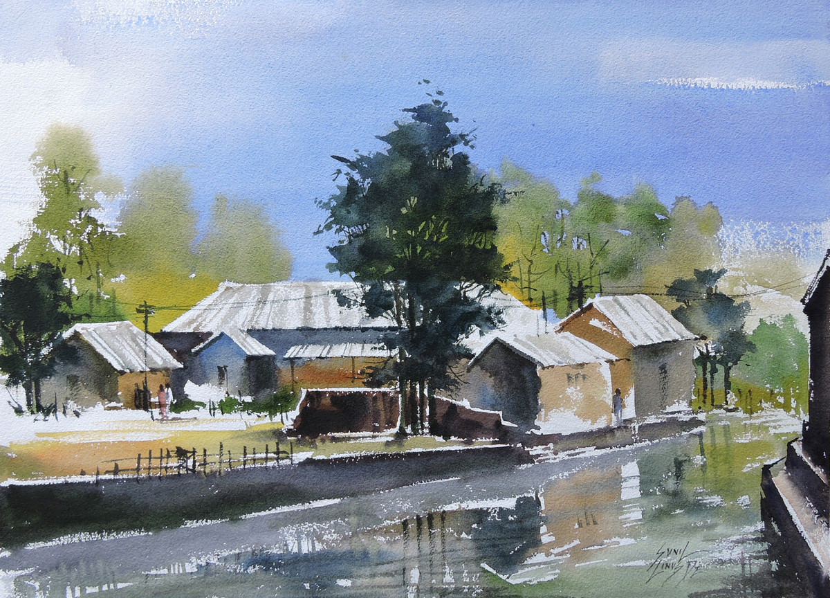 Landscape 2 by Sunil Linus De, Impressionism Painting, Watercolor on Paper, Cyan color