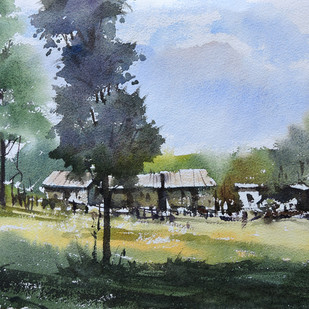 Landscape 3 by Sunil Linus De, Impressionism Painting, Water Based Medium on Paper, Green color