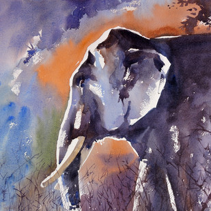 Tusker by Sunil Linus De, Impressionism Painting, Watercolor on Board, Brown color