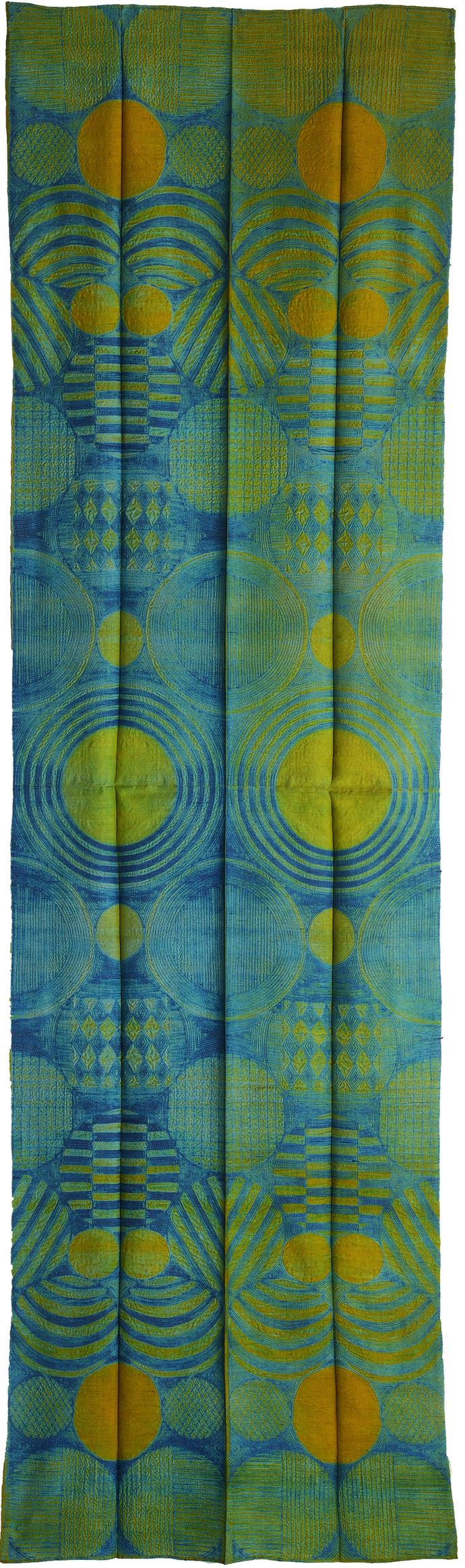 Yellow Water by Neha Puri Dhir, Geometrical Textile, Resist Dyeing on Silk, Green color