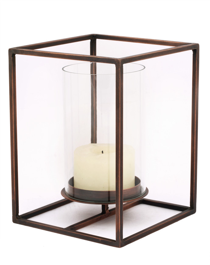 Cuboid Candle Holder In Antique Copper Large Candle Stand By The